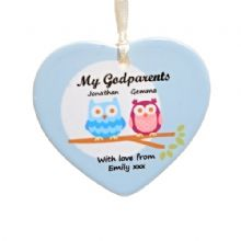 Godparents Owl Ceramic Heart - Personalised Godparents Keepsake Gift